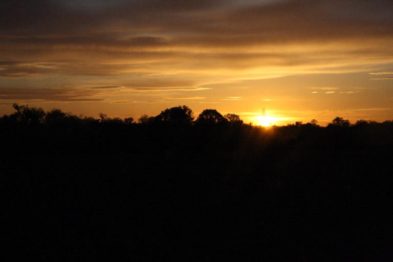 Sonnenuntergang als wir fuhren